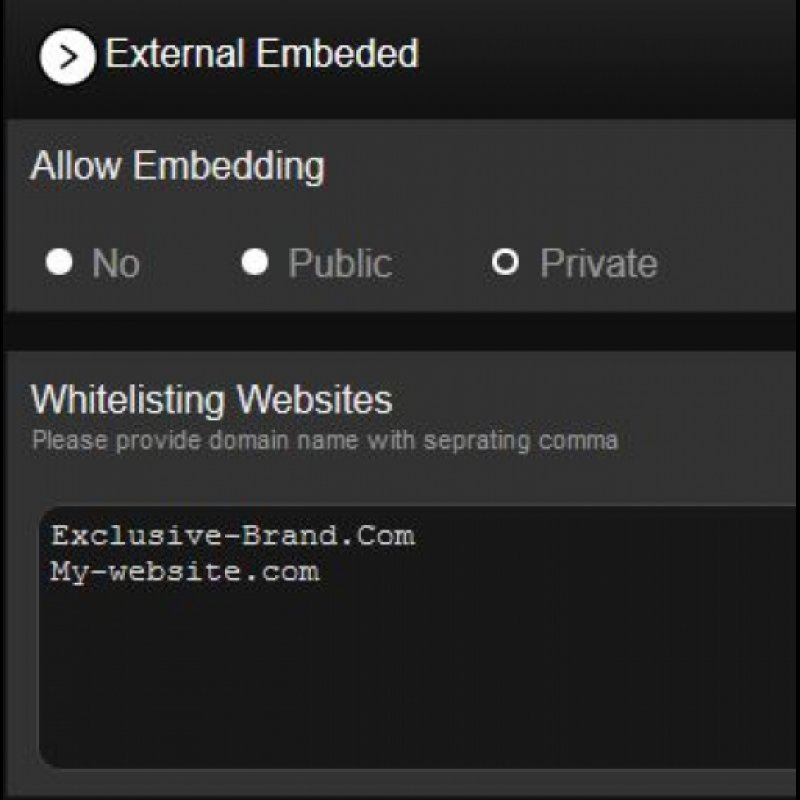 Player embedding and private embeds